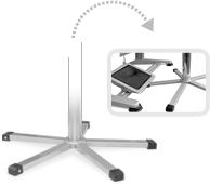 Stalowa podstawa o płaskim profilu idealnie mieści się pod niskimi elementami maszyn lub stołów roboczych.